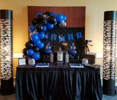 Royal Blue Silver And Black Balloon Garland To Accent This Class Of 2017 Sweet Table