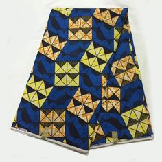 LSFM-81 Blue&yellow&orange African Wax Print Dress Fabric 100% Cotton…
