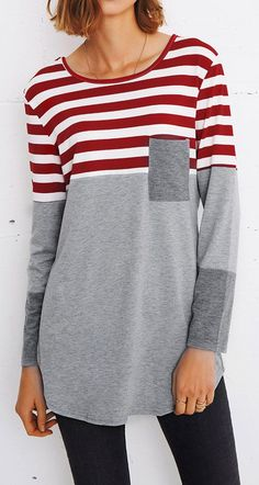 This striped splicing top is detailed with front pocket&great stretch! It is essential to your wardrobe. Fall Outfits, Cute Outfits, Fashion Outfits, Womens Fashion, How To Have Style, Style Me, Diy Vetement, Refashion, Autumn Winter Fashion