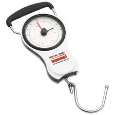 "Forget the luggage fees! Scale back your packing, it's the American weigh. Be prepared before you arrive to the airport with this handy luggage scale. It can measure up to 75 pounds/32Kgs. A secondary needle retains weight reading. Comfortable rubber coated handle. Retractable 39""/1 meter taper measure. Clip hook in back when not in use. Compact shape fits almost anywhere for easy portability."