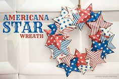 Piggy Bank Parties :: Americana Star Wreath Quick and easy paper star wreath for around $1.25! {includes free downloads}