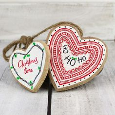 CHRISTMAS TIME and HO HO HO double heart hanging decoration made by Sarah Fitton of Ditsy Bird Designs