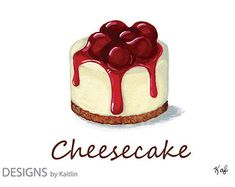 Cheesecake Dessert 5x7 Print from Acrylic Painting