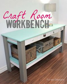 Workbench with drawers and storage