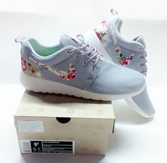 Free Shipping Only 69$ Nike Roshe Run Floral 2015 Grey