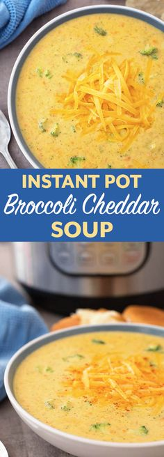 Instant Pot Broccoli Cheddar Soup is thick and cheesy with the right amount of broccoli. This pressure cooker broccoli cheddar soup is so delicious, you might need to make a double batch! simplyhappyfoodie.com #instantpotrecipes #instantpotsoup #instantpotbroccolicheddar #pressurecookerbroccolicheddarsoup