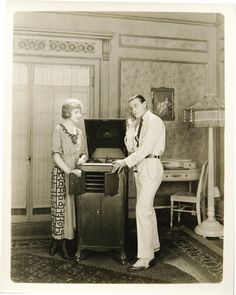 Rudolph Valentino and Alice Terry, phonograph listening party, 1920's