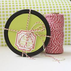 candy cane twine!!!  LOVE pairing this with a brown paper bag and custom tags for gifts!