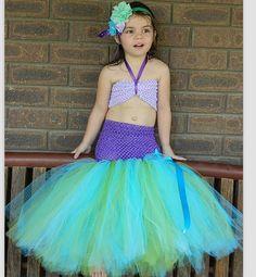 Tutu vestido de princesa sereia Ariel crianças Tutu vestido com Headband foto Prop de Ariel sob o mar(China (Mainland))