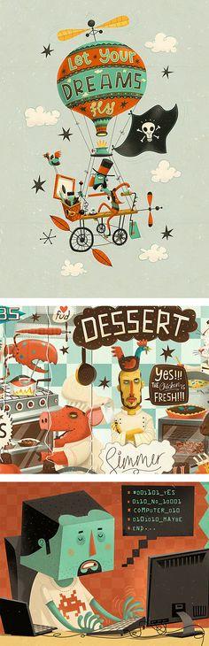 Illustrations by Steve Simpson, a freelance illustrator and designer based in Ireland, working in packaging design, illustration and art for children's books.