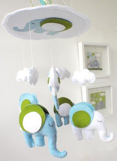 "Unique nursery mobile by ""k-art handycrafts"" and ""La Petite Melina"""