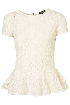 LACE ZIP BACK PEPLUM TOP from TOPSHOP