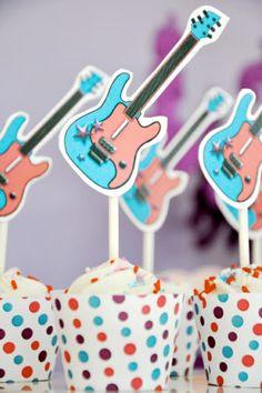 Printable Guitar Pop Star Birthday Party Cupcakes!