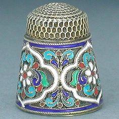 Antique Enamel Silver Thimble  (Pre-Revolution Russian Enameled Thimbles, Vintage Circa 1890-1900)