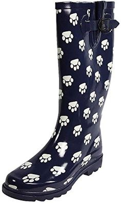 Sunville  Womens Paw Print Rainboot Navy 388127BMUS *** Click image for more details.