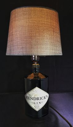 Hendricks Gin Bottle Lamp With 40w On Off Switch 13 Amp Plug Fitted 3 Fuse Grey Shade