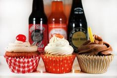 Cherry Cola, Orange Creamsicle, and Root Beer Cupcakes