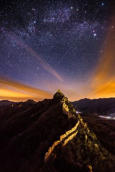 Milky Way above Heavenly Bridge, the Great Wall, China