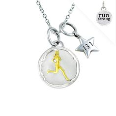 "Gone For a Run Livia Collection Sterling Silver and 14K Gold Vermeil Run Strong Token 13.1 Necklace. Sterling silver token charm. 1/2"" round and 3mm thick. 14k gold vermeil accents. Choose from a variety of necklace types - Gift boxed. Official Gone For a Run Brand Product - Passionate about sports and the products we make."