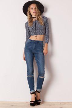 Jeans tiro medio azul oscuro Dropped Prosper by Cheap Monday - Denim Lovers - Trends