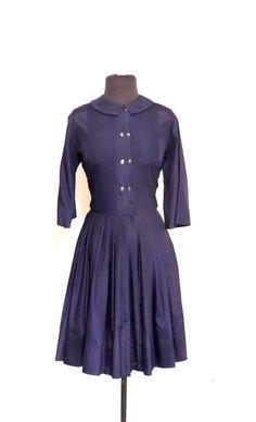 vintage navy day dress - 1940s-50s pleated blue cotton full-skirt dress by mkmack on Etsy