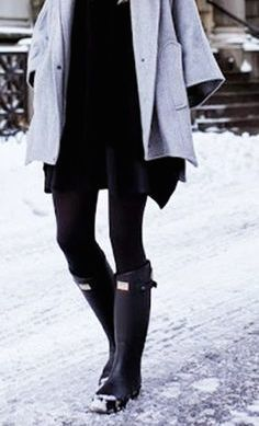 Hunter boots are stylish and useful.