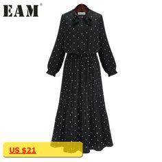 [EAM] 2018 new spring round neck long sleeve solid black chiffon dot loose big size dress women fashion tide JA23601M