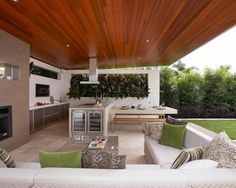 Gorgeous sectional couch covers in Patio Contemporary with Outdoor Bbq Area next to Backyard Fire Pit Ideas alongside Kitchen Peninsula and Backyard Pool Landscaping Idea Contemporary Patio, Outdoor Decor, Outdoor Kitchen Design, Modern Outdoor Kitchen, Patio Design, Wooden Greenhouses, Outdoor Design