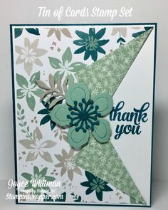 Blooms & Bliss Collar Fold Card A simple creative fold thank you card using the Blooms & Bliss DSP, Tin of Cards stamp set and the Botanical Builder Framelits from Stampin' Up! Homemade Greeting Cards, Making Greeting Cards, Greeting Cards Handmade, Homemade Cards, Handmade Thank You Cards, Fun Fold Cards, Folded Cards, Cute Cards, Karten Diy