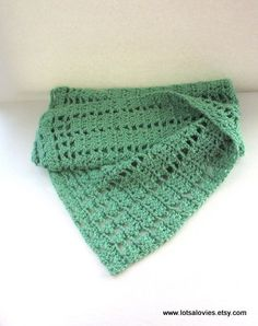 Crocheted Blanket  Green Blanket  Crochet Afghan  by LotsALovies, $50.00