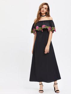 Embroidered Flower Applique Frill Off Shoulder Dress
