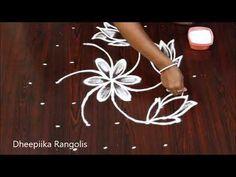 Small Daily Rangoli with 7 dots | Beginners Kolam | Lotus Muggulu | Rangoli - YouTube