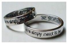 Nightmare wedding band set