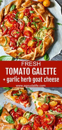 Tomato Galette ~ sweet summer tomatoes baked with tangy goat cheese and fresh herbs wrapped in a buttery, flaky crust. Use store bought or homemade dough. Flatbread Recipes, Pizza Recipes, Brunch Recipes, Vegetarian Recipes, Cooking Recipes, Cheese Recipes, Casserole Recipes, Dinner Recipes, Goats Cheese Flatbread