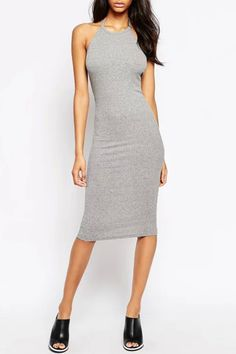 Grey Halter Sleeveless Bodycon Dress from Shop Lucky Clothing. Saved to Things I want as gifts. Club Dresses, 15 Dresses, Sexy Dresses, Fashion Dresses, Ol Fashion, Party Dresses, Lucky Clothing, Boohoo Outfits, Tops For Leggings