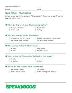 Quiz Whiz: Thumbelina | Speakaboos #Worksheets #quiz #education #kids #thumbelina