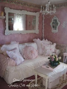 Shabby Cats and Roses, sitting room corner.