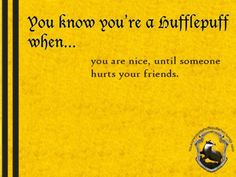 You know you're a Hufflepuff when... you are nice, until someone hurts your friends.  http://youknowyoureahufflepuffwhen.tumblr.com/page/39