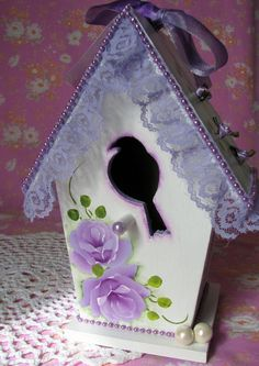 Victorian Birdhouse Hand Painted Lilac Roses by pinkrose1611