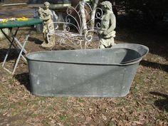 zinc junk   1800s french antique zinc bathtub tin bathtub by funknjunkinc, $650.00