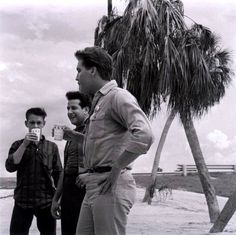"""Billy Smith, Joe Esposito and Elvis at Crystal River (Florida) when Elvis was filming the movie """"Follow that Dream"""" July 1961."""