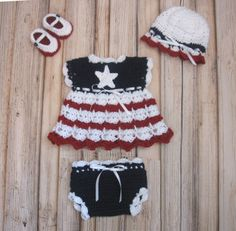 July+4th+Crochet+Baby+Dress+Layette+Set+by+CreativeDesignsbyAmi,+$33.00