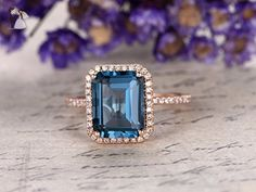 Emerald Cut Topaz Engagement Ring,Solid 14K Rose Gold Band,Bridal Promise Ring,Halo Anniversary Ring,VS London Blue Topaz,Ball Prongs - Wedding and engagement rings (*Amazon Partner-Link)