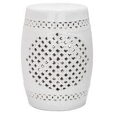 Ceramic indoor/outdoor garden stool with quatrefoil openwork detail.    Product: Garden stoolConstruction Material: ...
