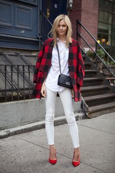 Jess throwing a bit of plaid into her all white mix. NYC. #JessicaStein #TuulaVintage