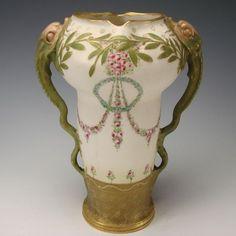 Antique~Jugendstil~RSTK Turn Teplitz~Amphora Snakes Vase~Great snake handles with ring of ivy wreath and flora drapery
