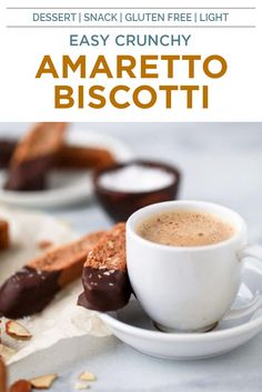 Delicious GLUTEN FREE AMARETTO BISCOTTI a lightly toasted sweet treat made with almond flour, amaretto liquor then dipped in dark chocolate. These crispy crunchy biscotti are perfect for dunking in a warm cup of coffee. #dessertrecipes #biscotti #snackrecipes