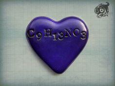 Adrenaline love heart brooch with molecular by TheArkanaWorkshop