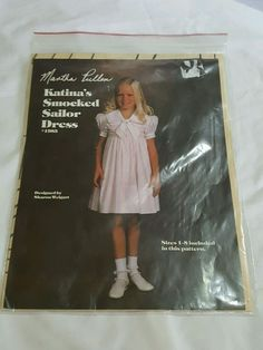Katina Smocked Sailor Dress Pattern Size 1 to 8 UNCUT #marthapullen