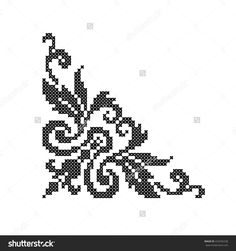 Scheme of knitting and embroidery. Cross Stitch Boarders, Cross Stitch Letters, Cross Stitch Flowers, Cross Stitching, Ribbon Embroidery, Cross Stitch Embroidery, Free To Use Images, Blackwork, Floral